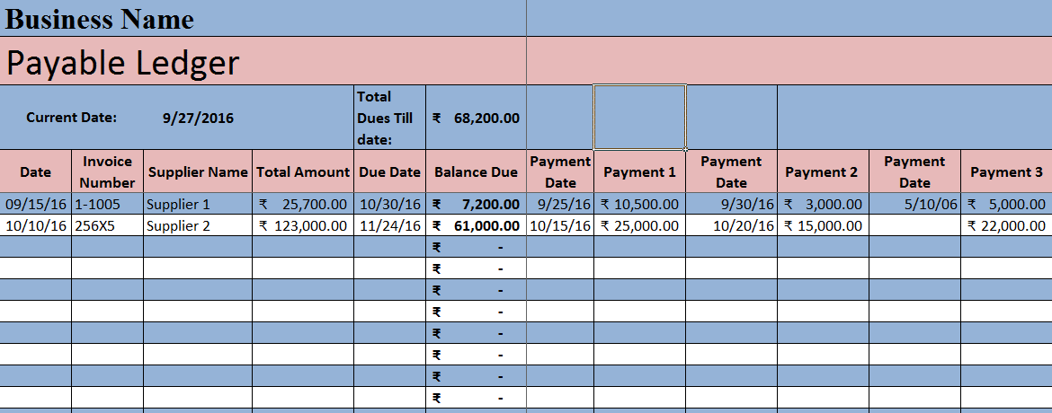 Account Ledger Template | Download Accounts Payable Excel Template Exceldatapro