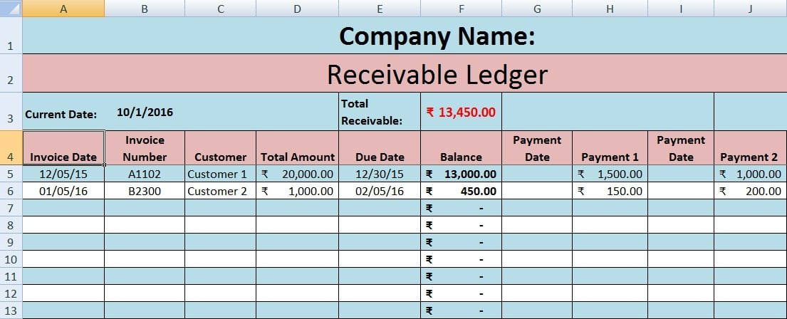 accounts receivable forms templates - download accounts receivable excel template exceldatapro