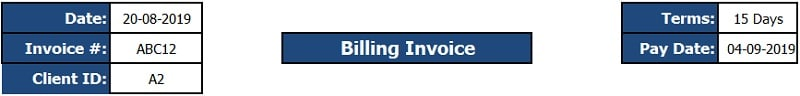 Billing Invoice Excel Template 1