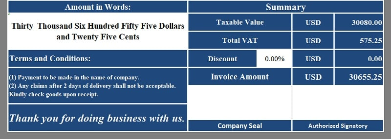 Multiple Tax Invoice Excel Template