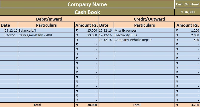 Download Simple Cash Book Excel Template