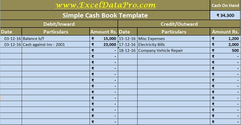 Download Cash Book Excel Template - ExcelDataPro