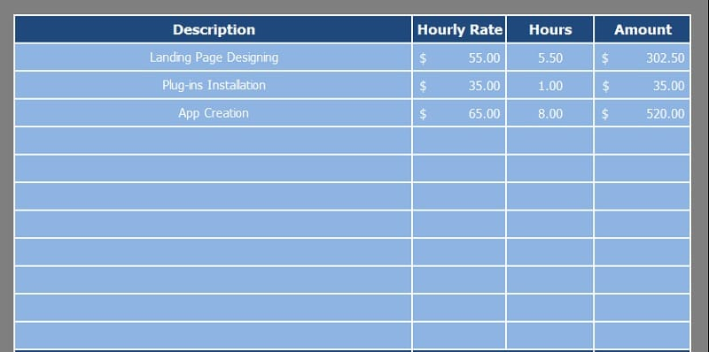 Hourly Invoice Excel Template