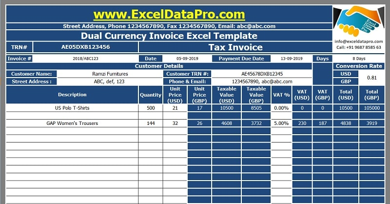Dual Currency Invoice Excel Template