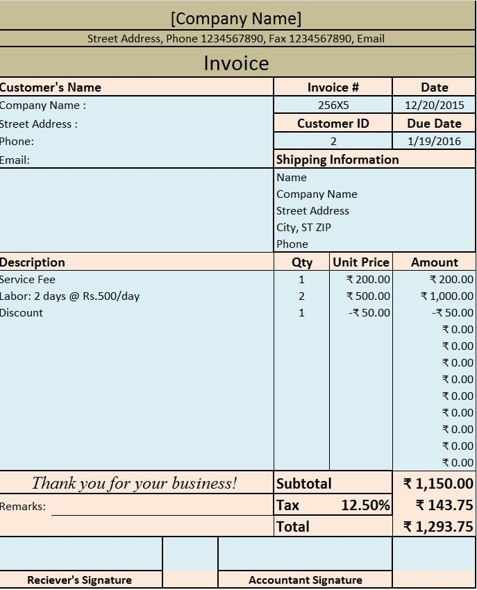 Download Invoice  Bill Excel Template  Exceldatapro