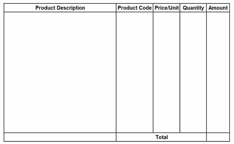 Blank Invoice Format