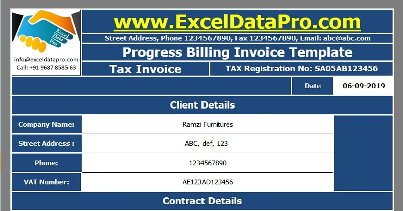 Progress Billing Invoice Excel Template