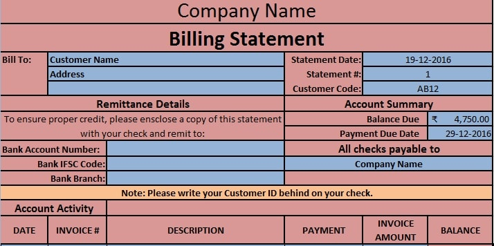 Download Free Billing Statement Template in MS Excel