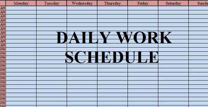 Download Free Daily Work Schedule Template in Excel