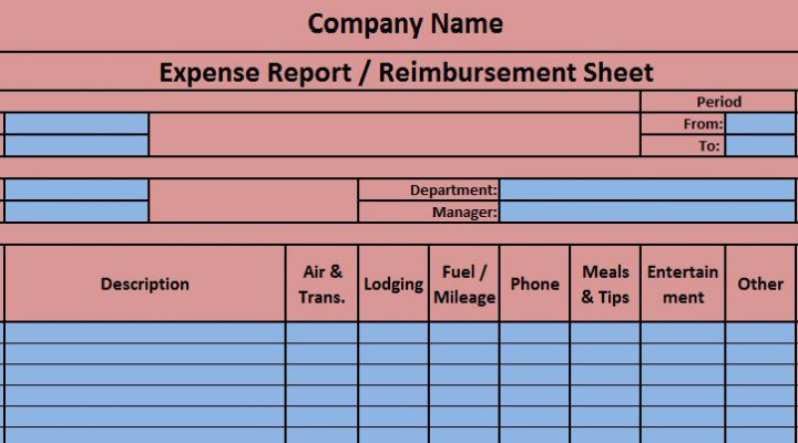 Free Download MS Excel Template For Expense Report