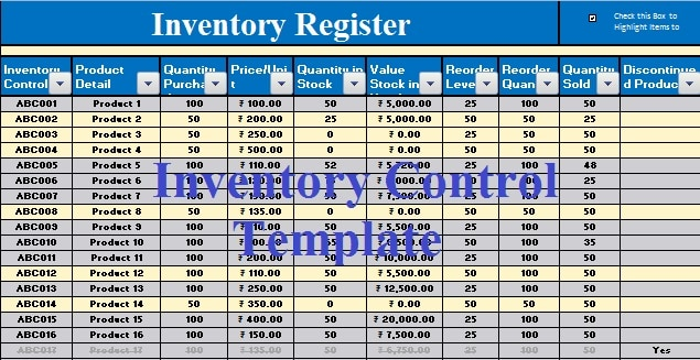 Download Free Inventory Control Template in MS Excel
