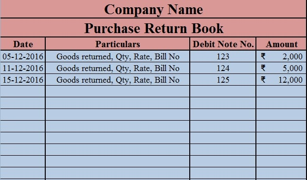 Download Free Purchase Return Book Template in Excel