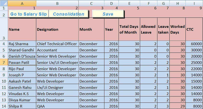 Salary Sheet Excel Template