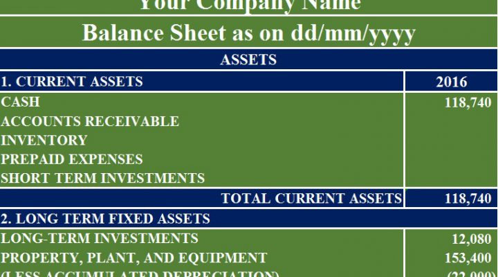 Download Free Balance Sheet Template in MS Excel