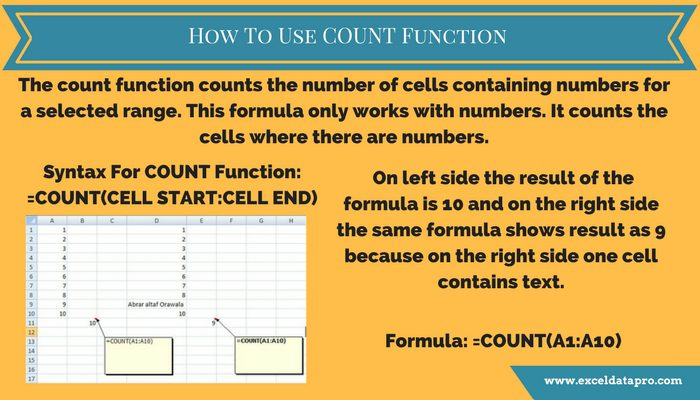 How To Use COUNT Function In Excel – Infographics