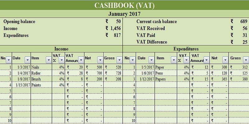 download cash book with vat excel template