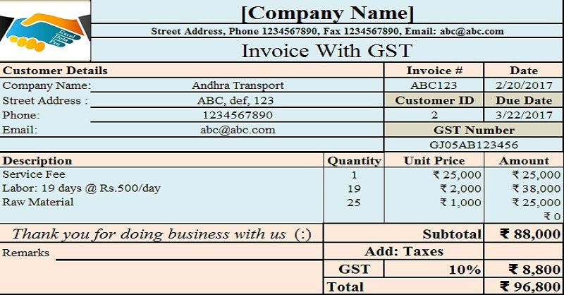 Download Invoice With Proposed GST in Union Budget 2017 Excel Template