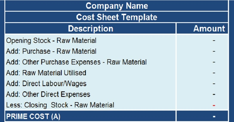 download cost sheet with cogs excel template exceldatapro