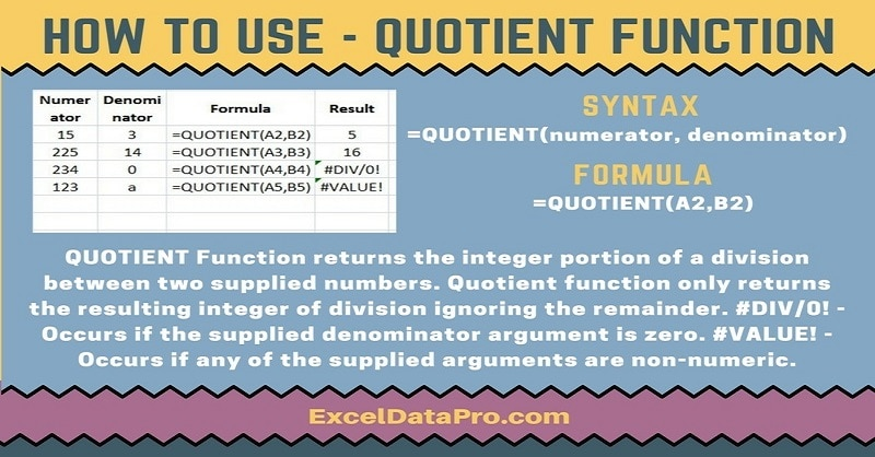 How To Use: QUOTIENT Function - ExcelDataPro