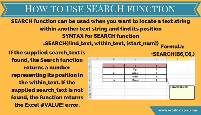 how to use search function exceldatapro