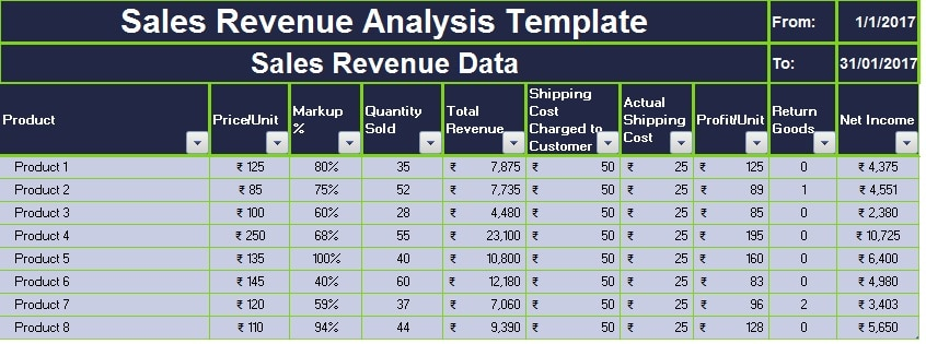 Beautiful Sales Revenue Analysis Template