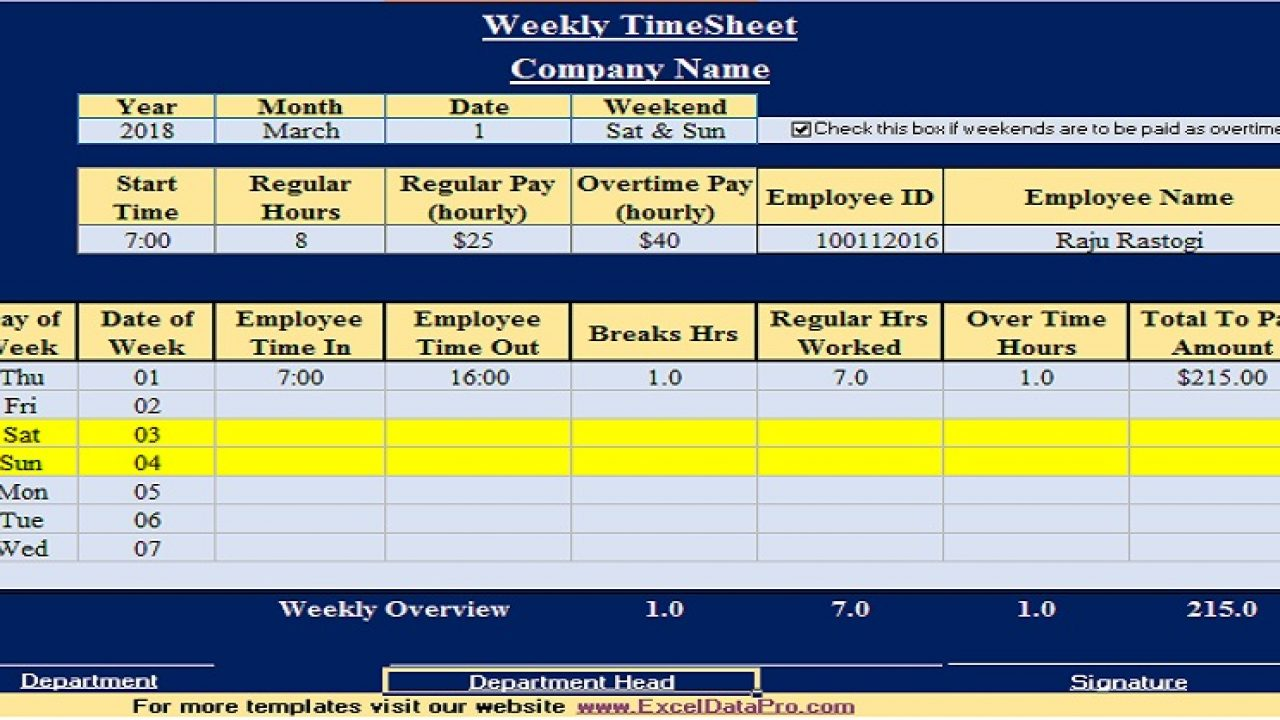 Weekly Time Sheet Template Excel from exceldatapro.com