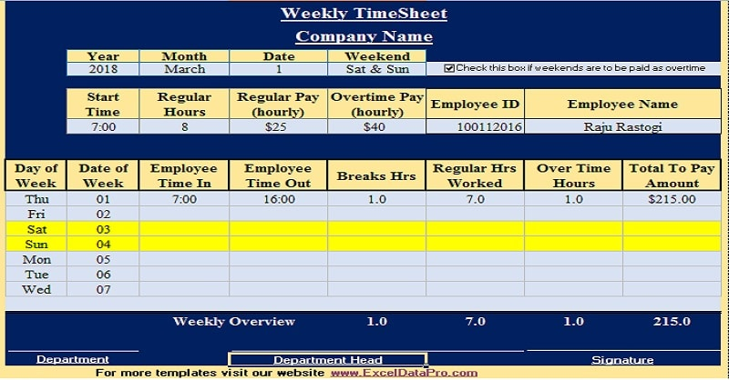 Download Timesheet Template Excel