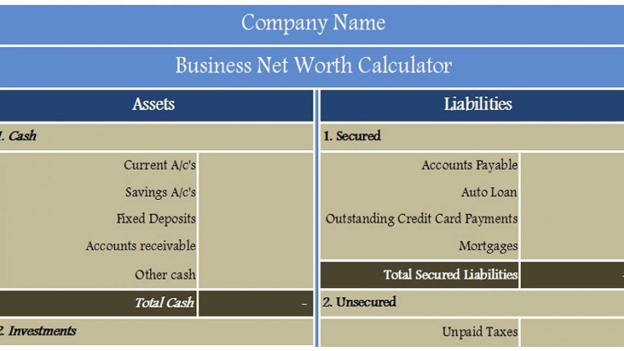 Net Worth Calculator Excel Template