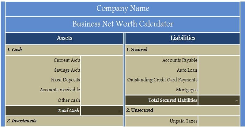 Download Business Net Worth Calculator Excel Template