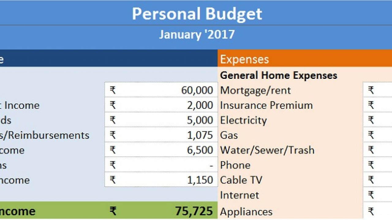 Weekly Personal Budget Template from exceldatapro.com