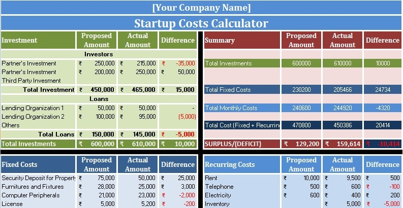 Download Startup Costs Calculator Excel Template
