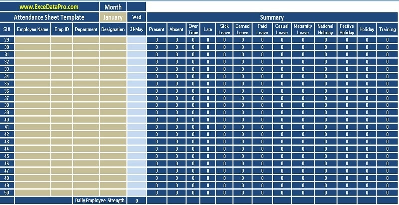 Employee Attendance Records Template from exceldatapro.com