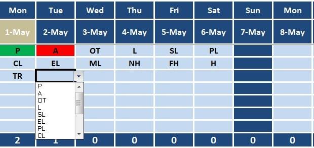 office attendance sheet format