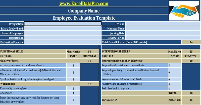 download employee performance evaluation excel template exceldatapro