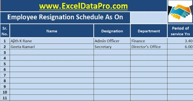 download employee resignation schedule excel template
