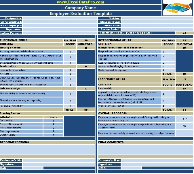 Download Employee Performance Evaluation Excel Template