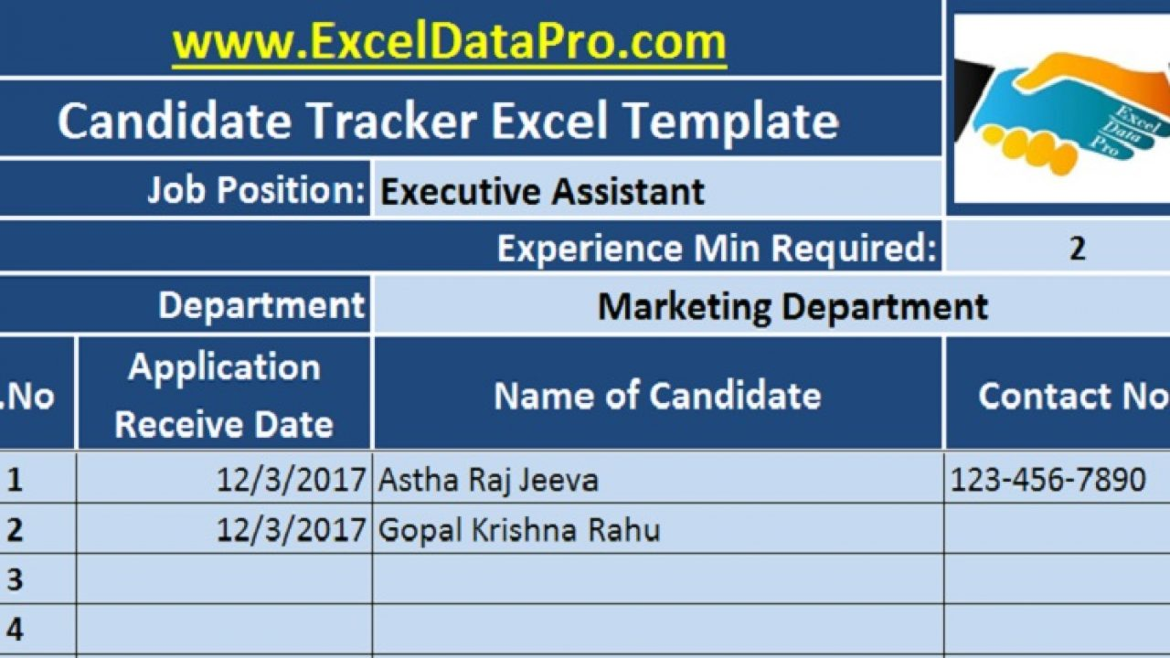 Download Job Candidate Tracker Excel Template - ExcelDataPro