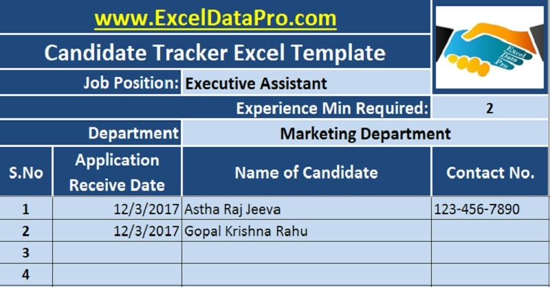 download job candidate tracker excel template