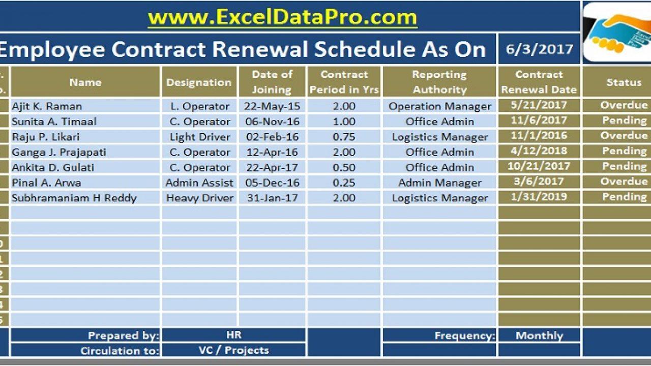 Download Employee Contract Renewal Schedule Excel Template Exceldatapro