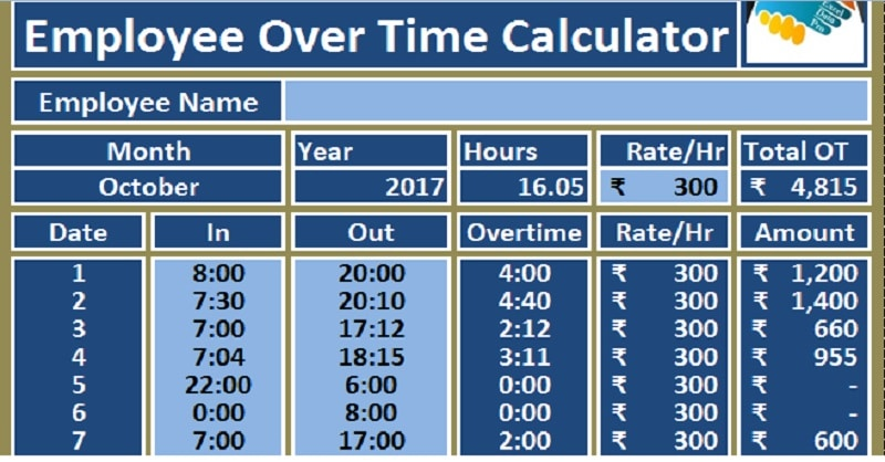 download employee over time calculator excel template