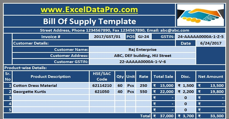 Download Gst Bill Format In Excel For Non Taxable Goods