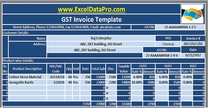 Download 10 GST Invoice Templates in Excel - ExcelDataPro
