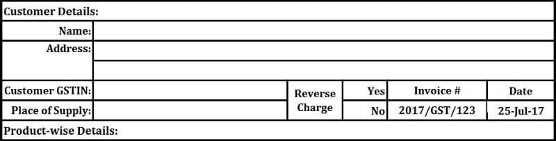 GST Invoice format for Service Providers