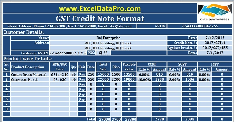 download gst credit note format in excel issued against