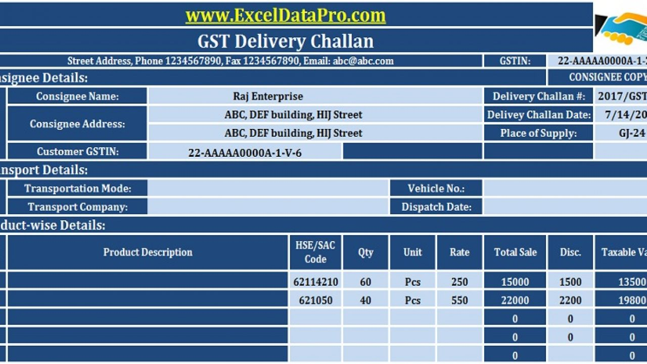 Download GST Delivery Challan Format in Excel For Transportation Of
