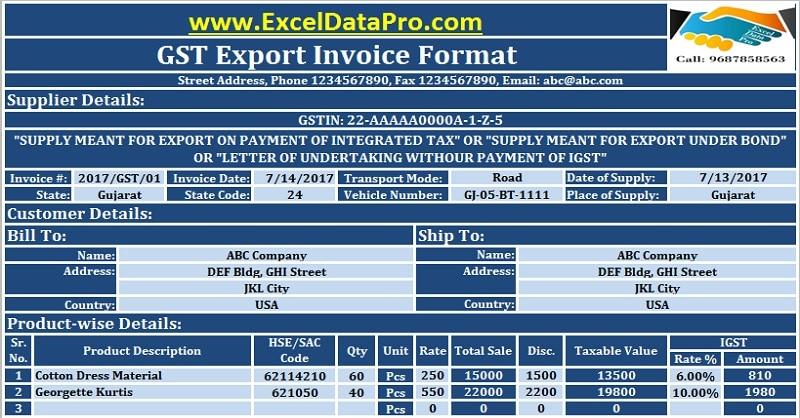 download gst export invoice format in excel under gst