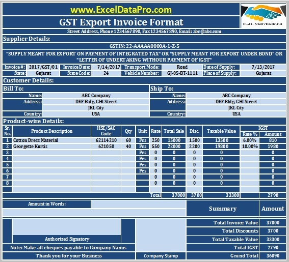 export quotation template - download gst export invoice format in excel under gst