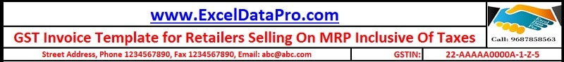 GST Invoice Format For Selling Goods On MRP