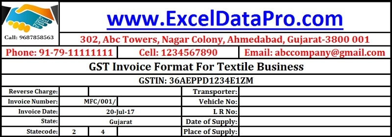 GST Invoice Format for Textile