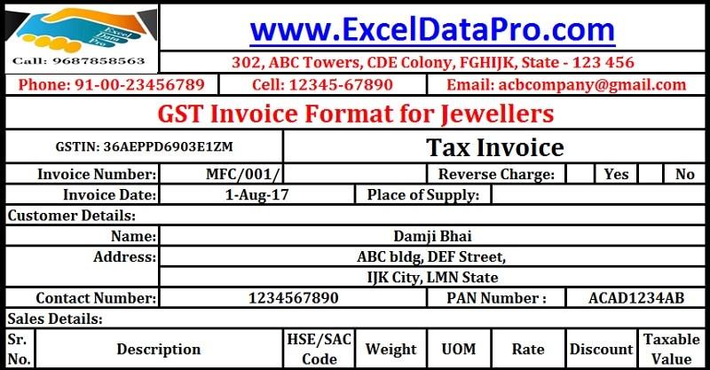 download gst invoice format for jewelers in excel exceldatapro. Black Bedroom Furniture Sets. Home Design Ideas
